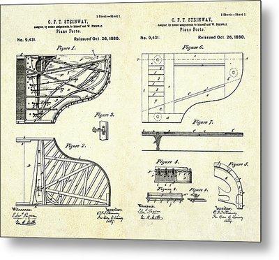 1880 Steinway Piano Forte Patent Art Sheets V2 Metal Print by Gary Bodnar