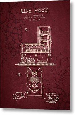1880 Wine Press Patent - Red Wine Metal Print by Aged Pixel