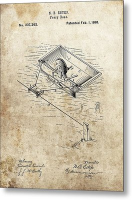 1881 Ferry Boat Patent Metal Print by Dan Sproul