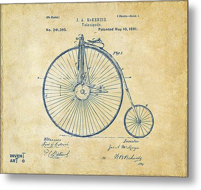 1881 Velocipede Bicycle Patent Artwork - Vintage Metal Print by Nikki Marie Smith