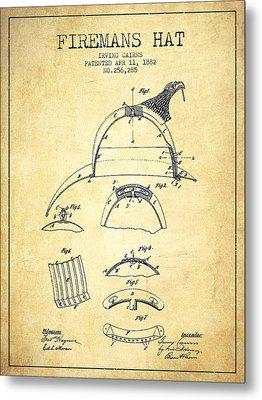1882 Firemans Hat Patent - Vintage Metal Print