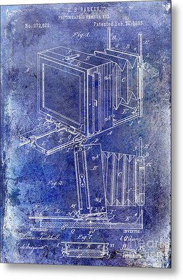 1883 Camera Patent Blue Metal Print by Jon Neidert