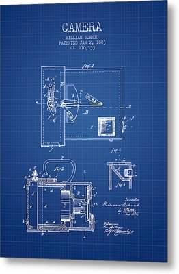1883 Camera Patent - Blueprint Metal Print by Aged Pixel