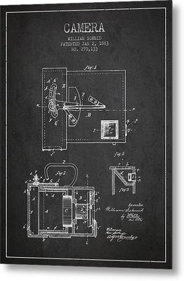 1883 Camera Patent - Charcoal Metal Print by Aged Pixel