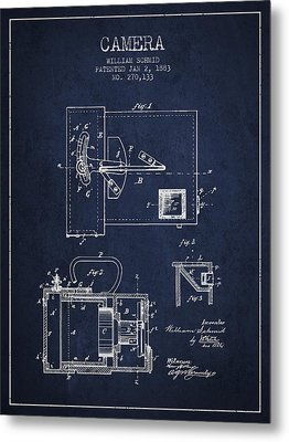 1883 Camera Patent - Navy Blue Metal Print by Aged Pixel