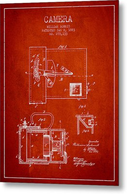 1883 Camera Patent - Red Metal Print by Aged Pixel