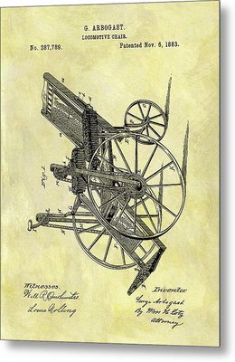 1883 Wheelchair Patent Metal Print by Dan Sproul