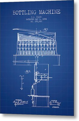 1884 Bottling Machine Patent - Blueprint Metal Print by Aged Pixel