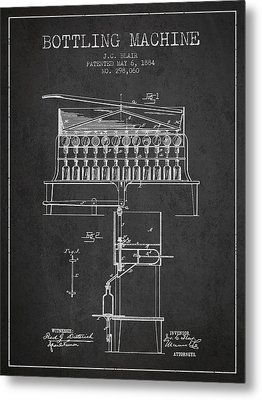 1884 Bottling Machine Patent - Charcoal Metal Print by Aged Pixel