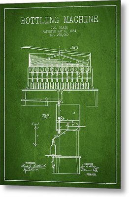 1884 Bottling Machine Patent - Green Metal Print by Aged Pixel