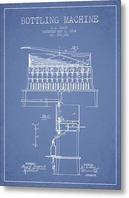1884 Bottling Machine Patent - Light Blue Metal Print by Aged Pixel
