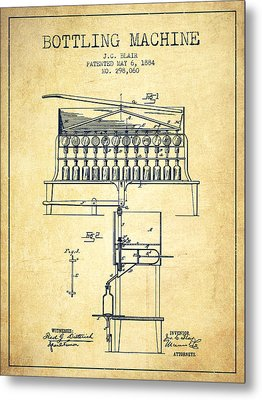 1884 Bottling Machine Patent - Vintage Metal Print