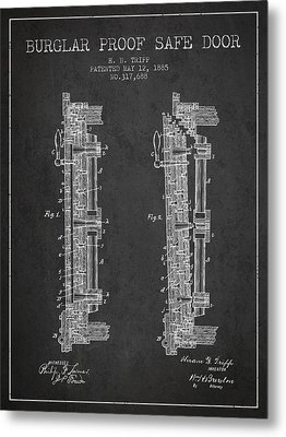 1885 Bank Safe Door Patent - Charcoal Metal Print by Aged Pixel