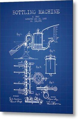 1885 Bottling Machine Patent - Blueprint Metal Print by Aged Pixel