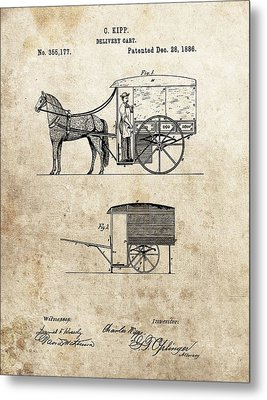 1886 Delivery Cart Patent Metal Print
