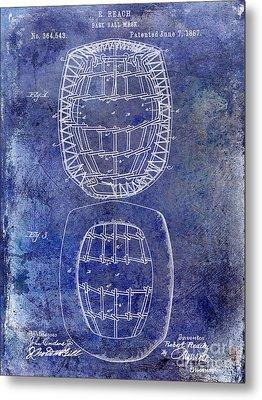 1887 Baseball Mask Patent  Blue Metal Print