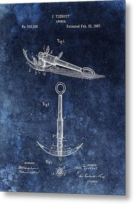 1887 Boat Anchor Patent Illustration Metal Print