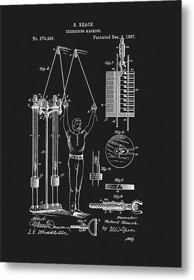 1887 Exercise Apparatus Patent Metal Print by Dan Sproul