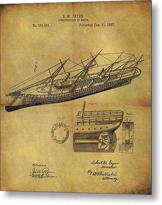 1887 Ship Patent Metal Print
