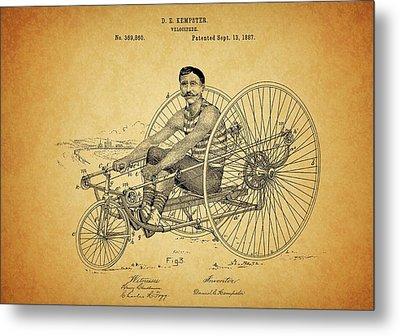 1887 Velocipede Patent Metal Print