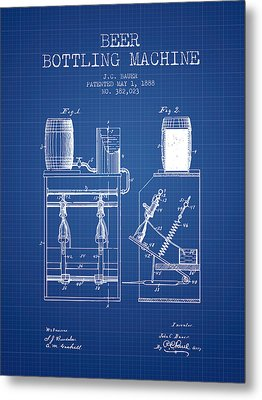 1888 Beer Bottling Machine Patent - Blueprint Metal Print by Aged Pixel