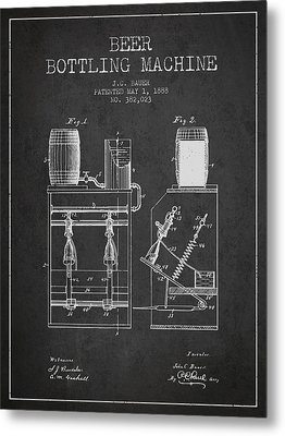 1888 Beer Bottling Machine Patent - Charcoal Metal Print by Aged Pixel