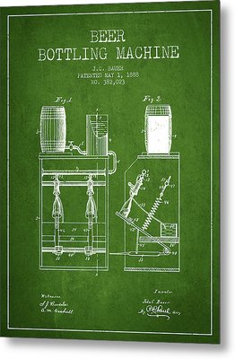 1888 Beer Bottling Machine Patent - Green Metal Print by Aged Pixel