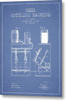1888 Beer Bottling Machine Patent - Light Blue Metal Print by Aged Pixel