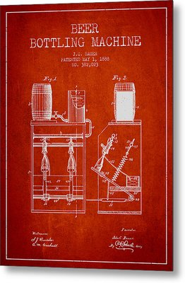 1888 Beer Bottling Machine Patent - Red Metal Print by Aged Pixel