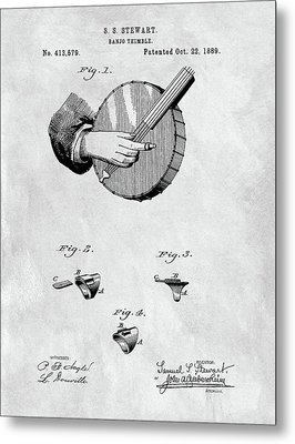 1889 Banjo Patent Blueprint Metal Print