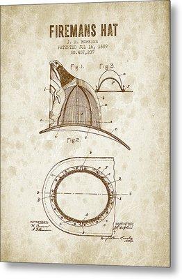 1889 Firemans Hat Patent - Vintage Grunge Metal Print by Aged Pixel