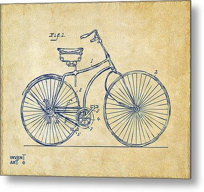 1890 Bicycle Patent Minimal - Vintage Metal Print by Nikki Marie Smith