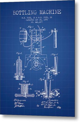 1890 Bottling Machine Patent - Blueprint Metal Print by Aged Pixel