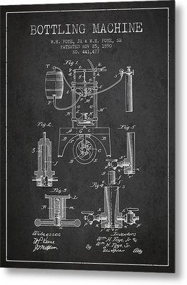 1890 Bottling Machine Patent - Charcoal Metal Print by Aged Pixel