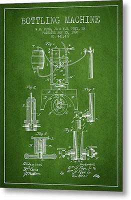 1890 Bottling Machine Patent - Green Metal Print by Aged Pixel