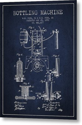 1890 Bottling Machine Patent - Navy Blue Metal Print by Aged Pixel
