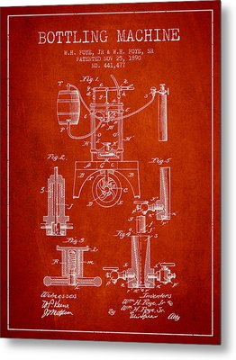 1890 Bottling Machine Patent - Red Metal Print by Aged Pixel