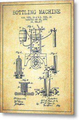 1890 Bottling Machine Patent - Vintage Metal Print by Aged Pixel