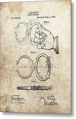 1891 Handcuffs Patent Metal Print by Dan Sproul