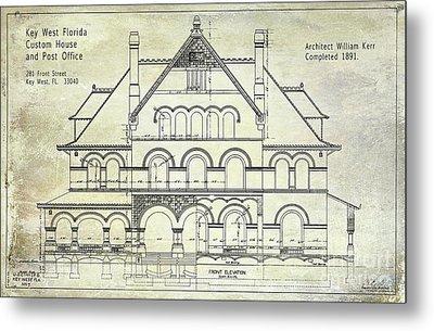 1891 Key West Blueprint Of The Custom House Metal Print by Jon Neidert