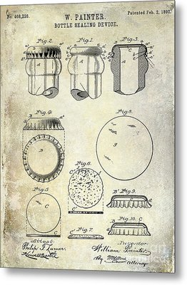 1892 Bottle Cap Patent  Metal Print by Jon Neidert