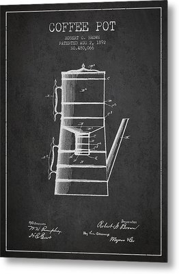 1892 Coffee Pot Patent - Charcoal Metal Print by Aged Pixel