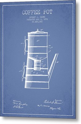1892 Coffee Pot Patent - Light Blue Metal Print by Aged Pixel