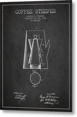 1892 Coffee Steeper Patent - Charcoal Metal Print by Aged Pixel