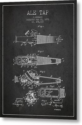 1893 Ale Tap Patent - Charcoal Metal Print by Aged Pixel