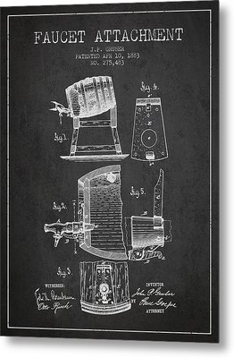 1893 Faucet Attachment Patent - Charcoal Metal Print