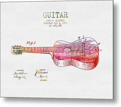 1893 Stratton Guitar Patent - Color Metal Print by Aged Pixel