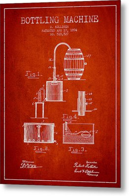 1894 Bottling Machine Patent - Red Metal Print by Aged Pixel