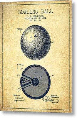 1894 Bowling Ball Patent - Vintage Metal Print by Aged Pixel