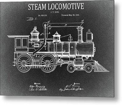 1894 Steam Locomotive Blueprint Metal Print by Dan Sproul